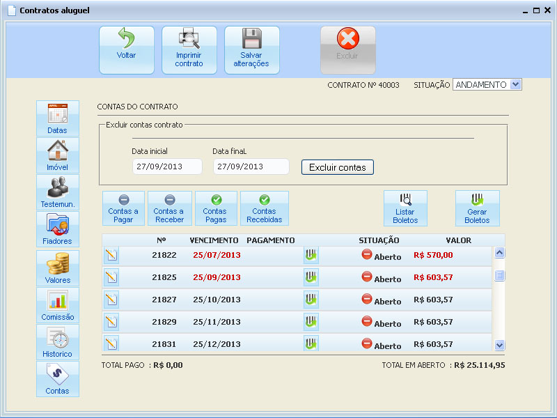 contas do contrato de aluguel gerado pelo software de gestão imobiliária